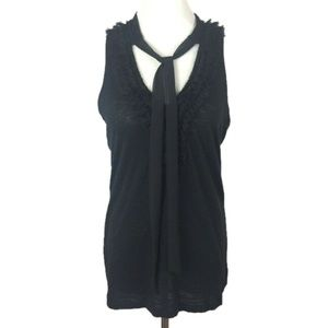 Press Fashions Black Neck Tie Sleeveless Top